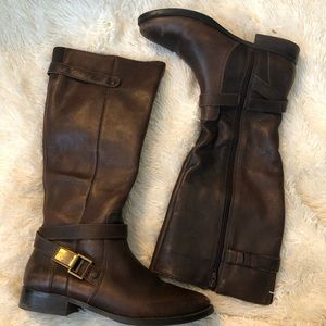 Arturo Chiang tall brown leather boots size 10